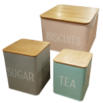 Tin Storage w/ Bamboo Wood Lid (Set of 3)