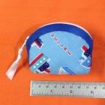 กระเป๋าผ้าใส่เหรียญ สีฟ้าลายเรือใบ กุ๊นสีน้ำเงิน
