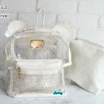 พร้อมส่ง HB-5353-สีขาว กระเป๋าเป้พลาสติกใส-Mickey-design-พร้อมใบเล็กด้านใน