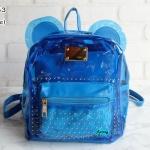 พร้อมส่ง HB-5353-สีฟ้า กระเป๋าเป้พลาสติกใส-Mickey-design-พร้อมใบเล็กด้านใน