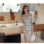 เสื้อผ้าเกาหลี Set 2 ชิ้น เสื้อ และกระโปรงผ้าลูกไม้เนื้อนิ่มสีฟ้าอมเขียวสวยมากๆ