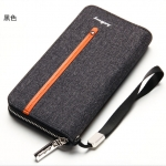 พร้อมส่งกระเป๋าสตางค์ผ้าใบยาวซิปรอบ คลัทซ์และใส่โทรศัพท์ iphone6 แฟชั่นเกาหลี ยี่ห้อ baellerry รหัสBA-S1523 สีดำ 1 ใบ *ไม่มีกล่อง