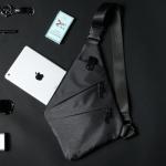 พร้อมส่ง ขายส่ง กระเป๋าคาดอก สะพายสบายๆกลางแจ้ง แฟขั่นเกาหลี รหัส Man-9885-71 สีเทาดำ 1 ใบ รุ่นผ้า