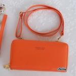 พร้อมส่ง รหัส NW-0126 สีส้ม กระเป๋าสตางค์ยาวพร้อมสายสะพายหนัง 2 ซิป Forever Young series