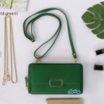 พร้อมส่ง รหัส GF570-1 สีเขียวเข้ม กระเป๋าสตางค์ยาว Forever Young แท้ อะไหล่ป้ายเหล็ก รุ่น 2 สาย โซ่-หนัง