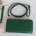 พร้อมส่ง รหัส NW-0126 สีเขียวเข้ม กระเป๋าสตางค์ยาวพร้อมสายสะพายหนัง 2 ซิป Forever Young series