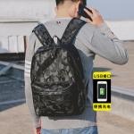 พร้อมส่งกระเป๋าเป้สะพายหลัง เป้ผ้าไนลอนกันน้ำ มีที่เสียบ USB แฟชั่นเกาหลี ใส่คอม14นิ้ว รหัส Man-7012 สีดำลายทหาร 1 ใบ