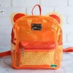 พร้อมส่ง HB-5353-สีส้ม กระเป๋าเป้พลาสติกใส-Mickey-design-พร้อมใบเล็กด้านใน