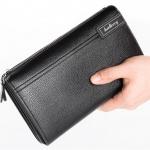 พร้อมส่ง กระเป๋าสตางค์ใบยาว คลัทซ์มือจับ นักธุรกิจผู้ชาย แฟชั่นเกาหลี ยี่ห้อ baellerry รหัส BA-1001 สีดำ 2 ใบ