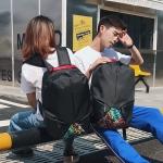 พร้อมส่งกระเป๋าเป้ผ้าผ้าใบสะพายลำลองได้ทั้งผู้หญิง-ผู้ชาย เป้นักเรียน ใส่คอม 14 นิ้ว แฟชั่นเกาหลี รหัส Man-608 สีดำ 1 ใบ