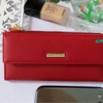 พร้อมส่ง รหัส L355-15 สีแดง กระเป๋าสตางค์ยาว Forever-young แท้ แต่งป้ายแบรนด์โลหะฉลุ