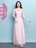 ชุดราตรียาว สีชมพูโอรส ใส่ออกงานสุดสวย ตัวเสื้อเป็นผ้าลูกไม้เนื้อดีสีชมพูโอรส