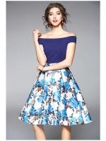ชุดเดรสสั้น ตัวเสื้อผ้าคอตตอนผสม spandex ยืดหยุ่นได้ดี สีน้ำเงิน จะใส่เป็นเสื้อคอป้านก็ได้