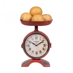 Red Metal 2-Sided Scale Shaped Clock, KD