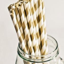 Paper Straws in Metallic Dark Gold