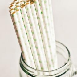Paper Straws in White & Green Polka Dots