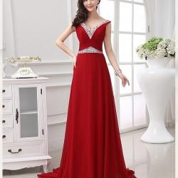 Pre-Order ชุดราตรียาว แขนกุด สีแดง ผ้า Georgette คุณสมบัติเหมือนชีฟอง คือพริ้วและยับยาก ใส่ออกงานสวยมากๆ