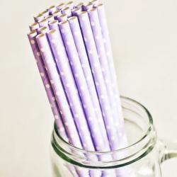 Paper Straws in Lavender & White Polka Dots