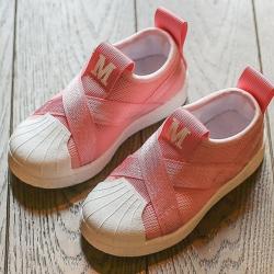 รองเท้าMหัวยางลายหอยแถบไขว้ สีชมพู