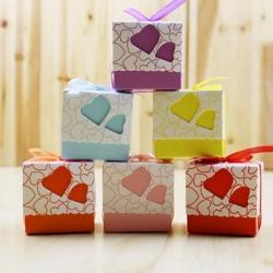 กล่องใส่ ลูกอม - ของชำร่วย - ทรงสี่เหลี่ยมหัวใจ สีชมพู (5 ใบ)