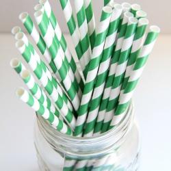 Paper Straws in Green & White Stripes