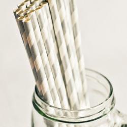Paper Straws in Metallic Silver Stripes