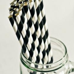 Paper Straws in Black Stripes