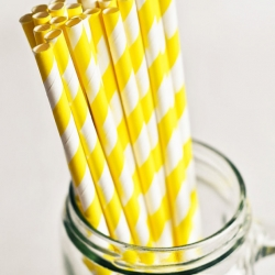 Paper Straws in Bright Yellow & White Stripes