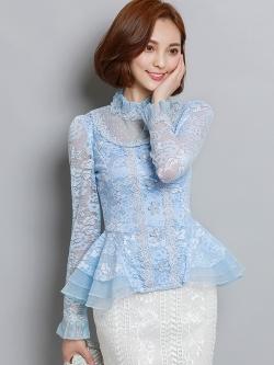 เสื้อสีฟ้า เสื้อผ้าลูกไม้สีฟ้า แขนยาว
