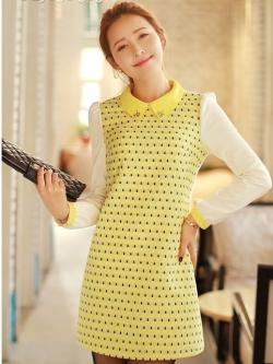 ชุดเดรสสั้น Brand Bluearly แท้ 100% ชุดเดรสทำงาน สีเหลือง ผ้าโพลีเอสเตอร์อย่างดี ปักลายขนนกยูง คอปกโปโล แขนยาว