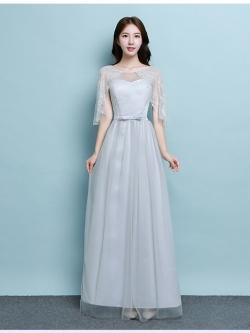 ชุดราตรียาว สีเทา ใส่ออกงานสุดสวย ตัวเสื้อเป็นผ้าลูกไม้เนื้อดีสีเทา ช่วงไหล่จะเป็นผ้าโปร่งสองชั้น