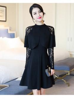 ชุดเดรสสีดำ เดรสผ้าคอตตอนผสม spandex สีดำ ผ้ายืดหยุ่นได้ดี ทิ้งตัวสวย แขนยาว