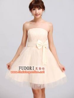 Pre-Order ชุดราตรีสั้น ชุดไปงานแต่งงาน Brand Fu daiyi สีครีม เกาะอก ตกแต่งโบว์ที่เอว เนื้อผ้าเกรด A อย่างดี ใส่ออกงานสวยมากๆ ครับ