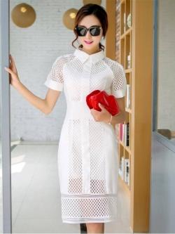 ชุดเดรสสุดหรู ผ้าคอตตอนผสม สีขาว ยืดหยุ่นได้