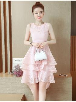 ชุดเดรสสวยๆ ผ้าไหมแก้ว organza ทอลายเส้นดอกไม้สีชมพูโอรส แขนกุด