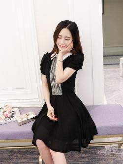 เดรสสีดำ ชุดสีดำ เดรสผ้าชีฟองเนื้อดีสีดำ คอปกสีขาว