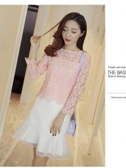 แฟชั่นเกาหลี set เสื้อ และกระโปรงสวยหวาน