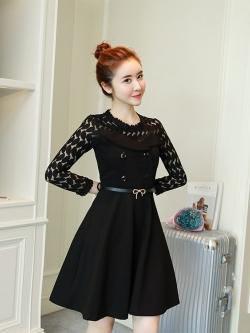 ชุดเดรสสีดำ เดรสผ้าคอตตอนผสม spandex สีดำ ผ้ายืดหยุ่นได้ดีทิ้งตัวสวย แขนยาว