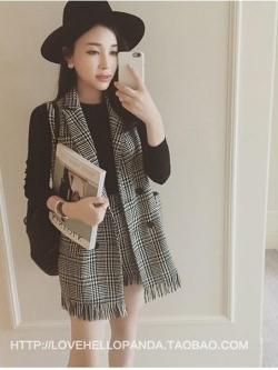 แฟชั่นเกาหลี set เสื้อสูทแขนกุด และกางเกงขาสั้น