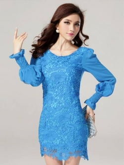 ชุดเดรสสั้น Brand Jinjiali ชุดเดรสตัวเสื้อด้านหน้า ผ้าถักลายดอกไม้สีฟ้า มีซับในด้านหน้า แขนเสื้อยาว ผ้าชีฟอง สวยมากๆครับ (พร้อมส่ง)