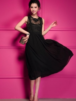 MAXI DRESS ชุดเดรสยาว เดรสแฟชั่นแขนกุด ใส่ทำงาน กระโปรงผ้าชีฟอง แต่งโบว์ สีดำ ออกงานกลางวัน สวยมากๆครับ (พร้อมส่ง)