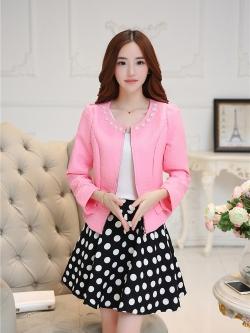 แฟชั่นเกาหลี set เสื้อสูท สีชมพู และกระโปรง สวยมากๆ