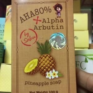 สบู่สับปะรด AHA80%+อัลฟ่าอาร์บูตินของแท้