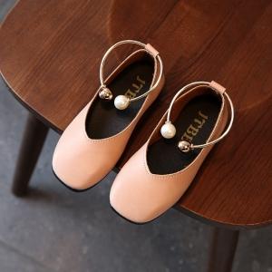 รองเท้าเด็กคัทชูpuหนังนิ่ม แต่งด้วยกำไลรัดข้อเท้าประดับมุก # สีชมพู