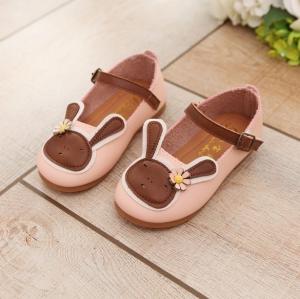 รองเท้าคัทชูส้นแบน หนังกลับเทียม กระต่าย #สีชมพู