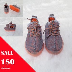 รองเท้าผ้าใบสีเทาริ้วสีส้ม