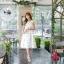ชุดเดรสเกาหลี ผ้าซาตินเนื้อนิ่ม เงาสวย แขนกุด พื้นสีขาว พิมพ์ลายดอกไม้โทนสีขาว เดรสเข้ารูปช่วงเอว thumbnail 11
