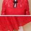 ชุดเดรสสีแดง คอจีน ผ้าลูกไม้เนื้อนิ่มแขนยาว เดรสเข้ารูปช่วงเอว กระโปรงทรงเอ มีซับใน ซิบด้านหลังลำตัว thumbnail 9