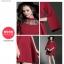 ชุดเดรสสั้น ผ้าโพลีเอสเตอร์ผสมสีแดงเข้ม ช่วงไหล่เป็นผ้าซีทรูปักลายดอกไม้ แขนยาว thumbnail 10