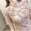 ชุดเดรสสวยๆ ตัวชุดผ้าโปร่งเนื้อละเอียดสีครีม ตัวผ้าเดินเส้นผ้าริบบิ้นสีครีมโค้งหยักตามแบบ thumbnail 15